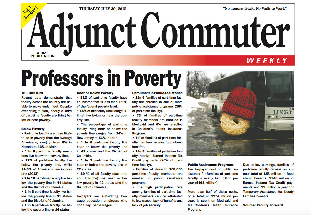 The front page of the first and only print edition of 'Adjunct Commuter Weekly' (screenshot by the author)