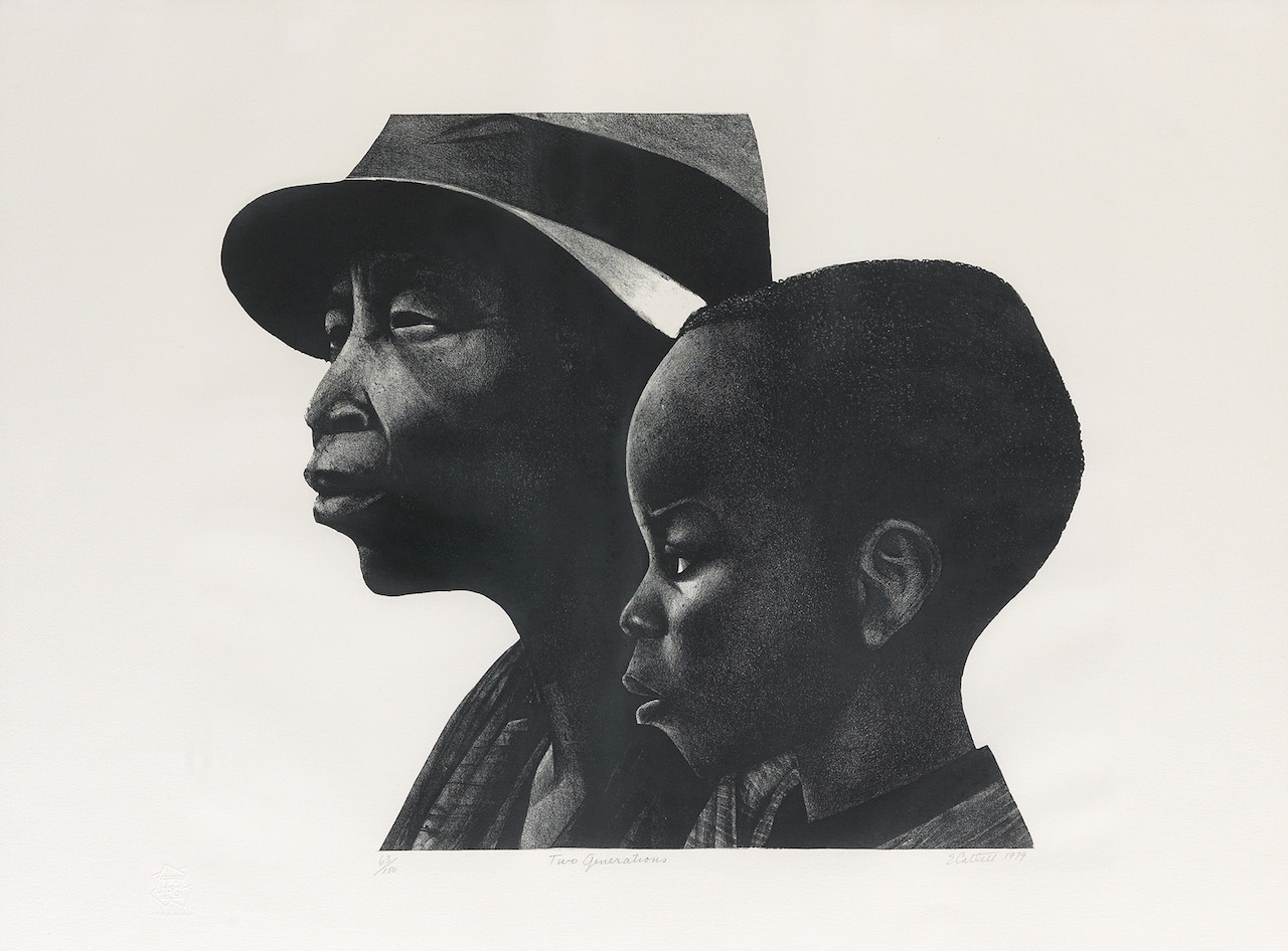 "Elizabeth Catlett, ""Two Generations,"" lithograph, 1979."