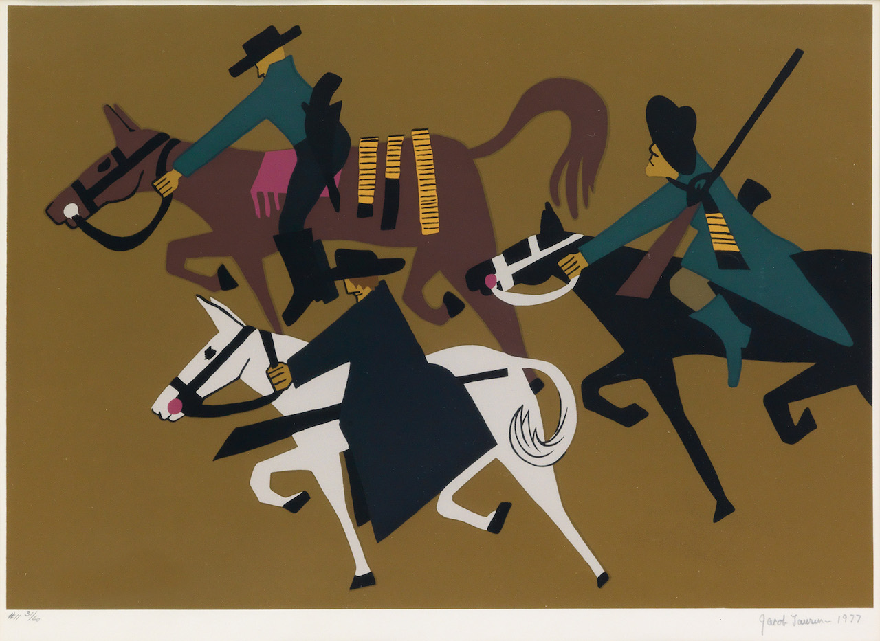 """Jacob Lawrence, """"John Brown took to guerilla warfare,"""" color screenprint on Domestic Etching paper, 1977"""