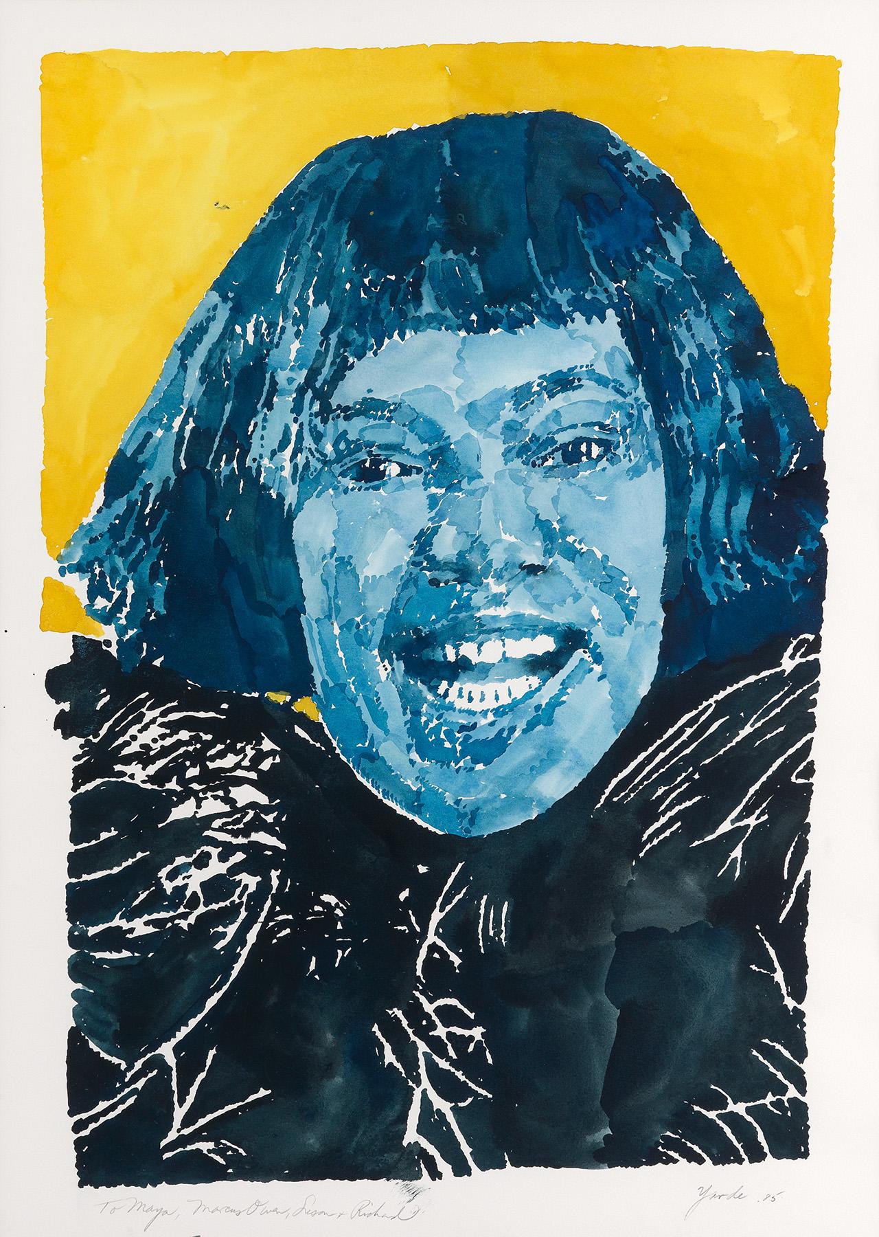 "Richard Yarde, ""Portrait of Dr. Maya Angelo,"" watercolor, 1985"