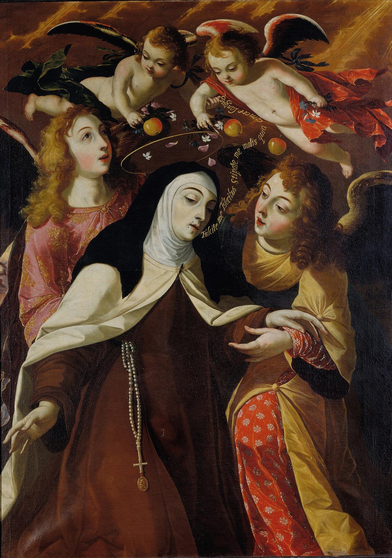 """""""St. Teresa of Avila, Mystic Spouse of Christ"""" (1672) Oil on canvas, 158,5 ~ 113 cm, Collection Parish of Cascais"""