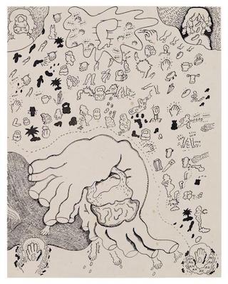 "Suellen Rocca, ""Handbag"" (1968), ink on paper, 23 3/4 x 17 7/8 inches"