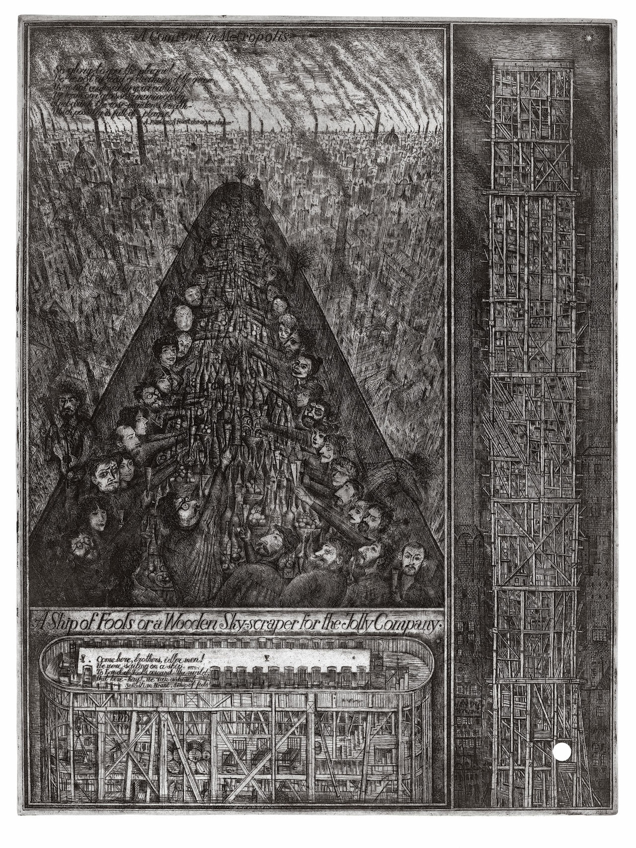 "Alexander Brodsky and Ilya Utkin, ""Ship of Fools or a Wooden Skyscraper for the Jolly Company"" (1988/90) (courtesy of Ronald Feldman Fine Arts Inc)"