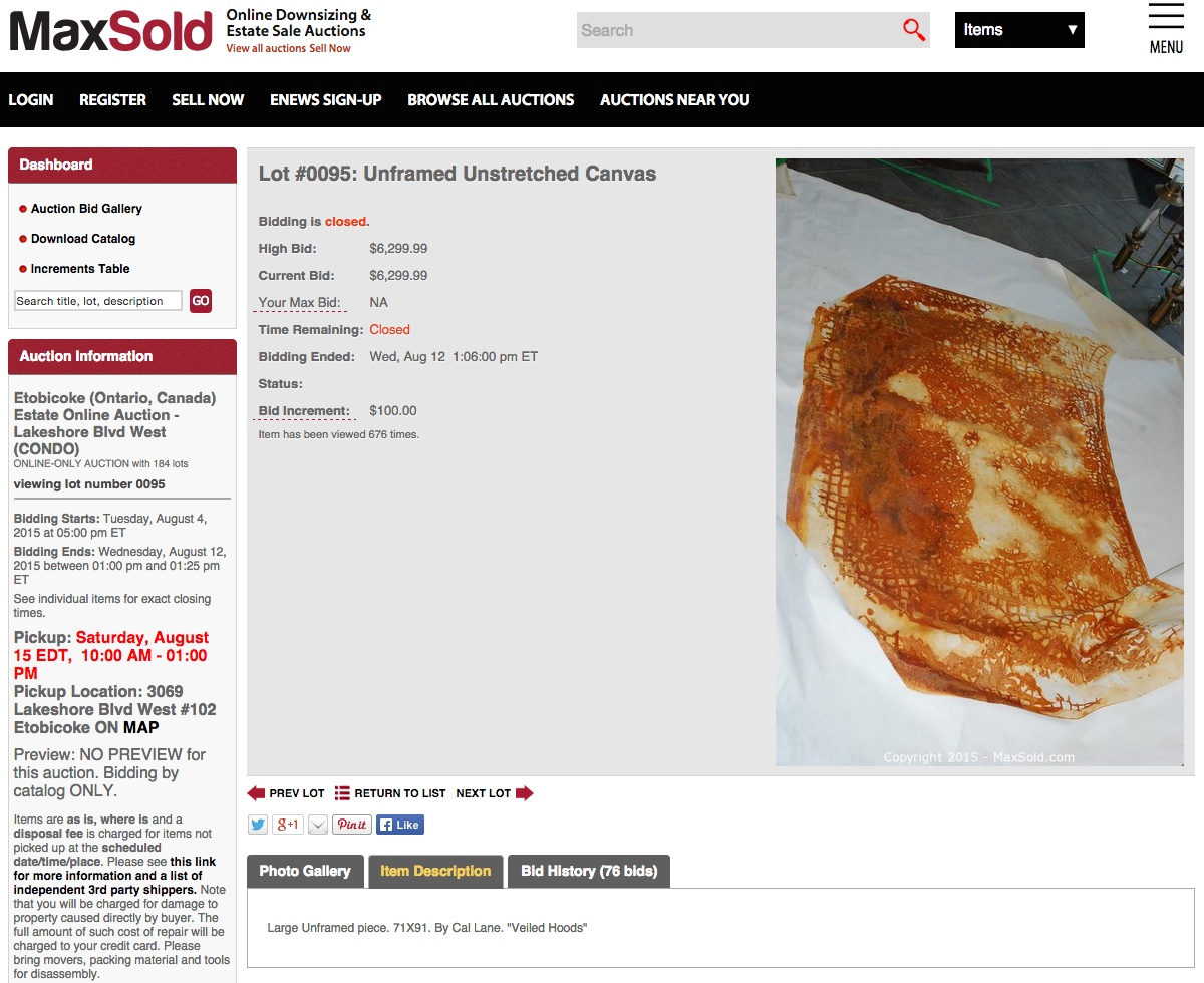 """Auction page for Cal Lane's """"Veiled Hood Stain #8"""" (2014) on MaxSold (screenshot by the author)"""