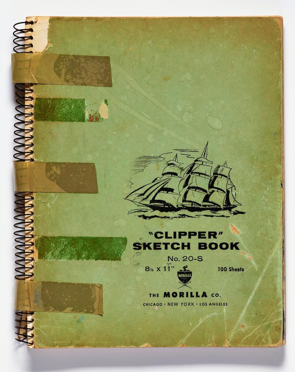 Richard Diebenkorn, Cover of Sketchbook #8 (1943–1993), printing ink on laminated board (gift of Phyllis Diebenkorn, © The Richard Diebenkorn Foundation)