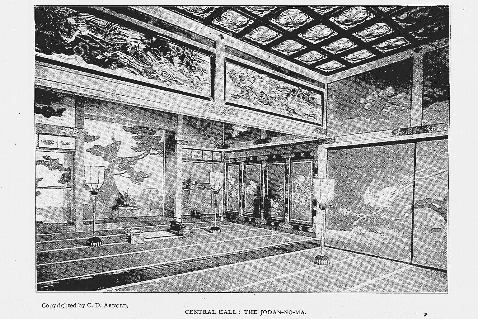 Room from the Central Hall of the Ho-o-Den, featuring shoji and a view of the found door paintings (photo digitized by National Diet Library)