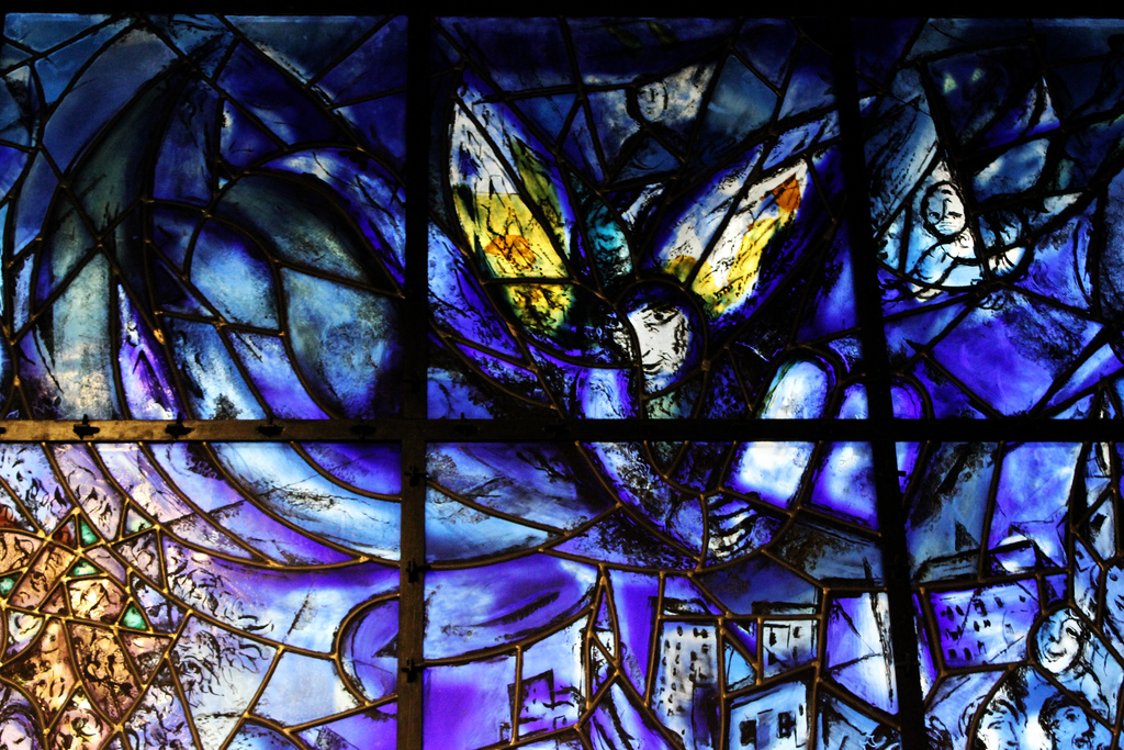Detail of the Marc Chagall stained glass at the United Nations (photo by Mitchell_Center, via Flickr)