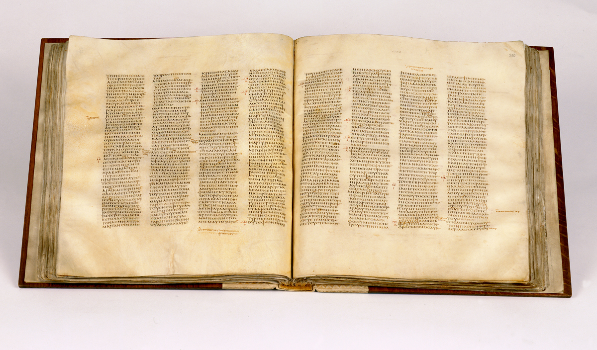 The Codex Sinaiticus at the British Library (courtesy British Library)