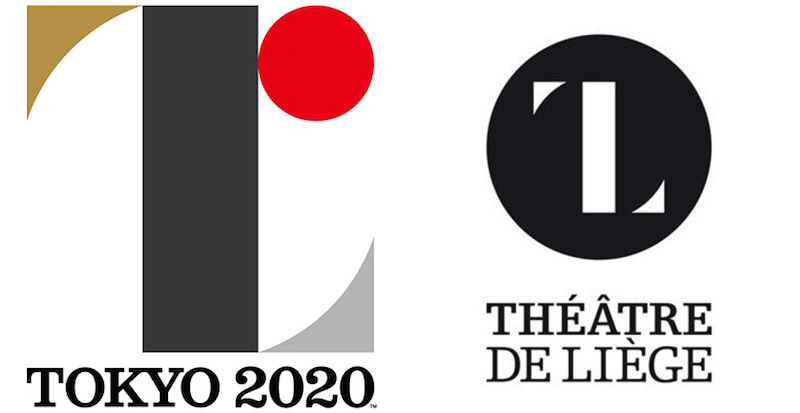 The Tokyo 2020 Olympic Games logo by Kenjiro Sano (left) and the Théâtre de Liège logo designed by Olivier Debie (right) (graphic by the author)