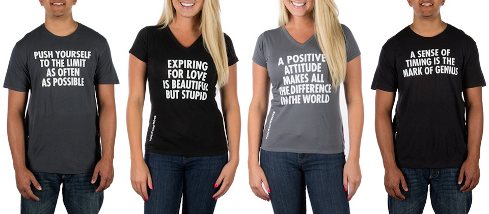Jenny Holzer T-shirts on sale in the Dallas Cowboys online store (composite image by the author)