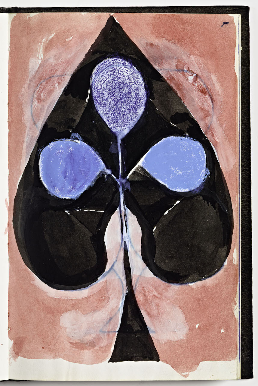 """Richard Diebenkorn,"""" Untitled"""" from Sketchbook #2, page 17 (1943-1993), ink wash, watercolor or gouache with crayon and felt-tip marker on paper on paper (gift of Phyllis Diebenkorn, © The Richard Diebenkorn Foundation)"""