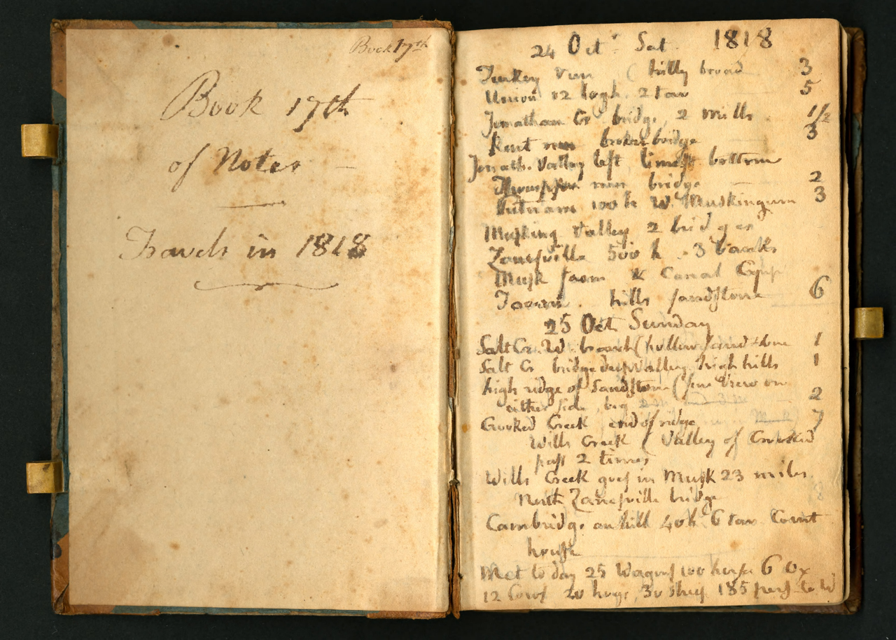 Notebook kept by Constantine Samuel Rafinesque on a trip from Philadelphia to Kentucky, 1818 (courtesy the Biodiversity Heritage Library, digitized by Smithsonian Institution Archives)