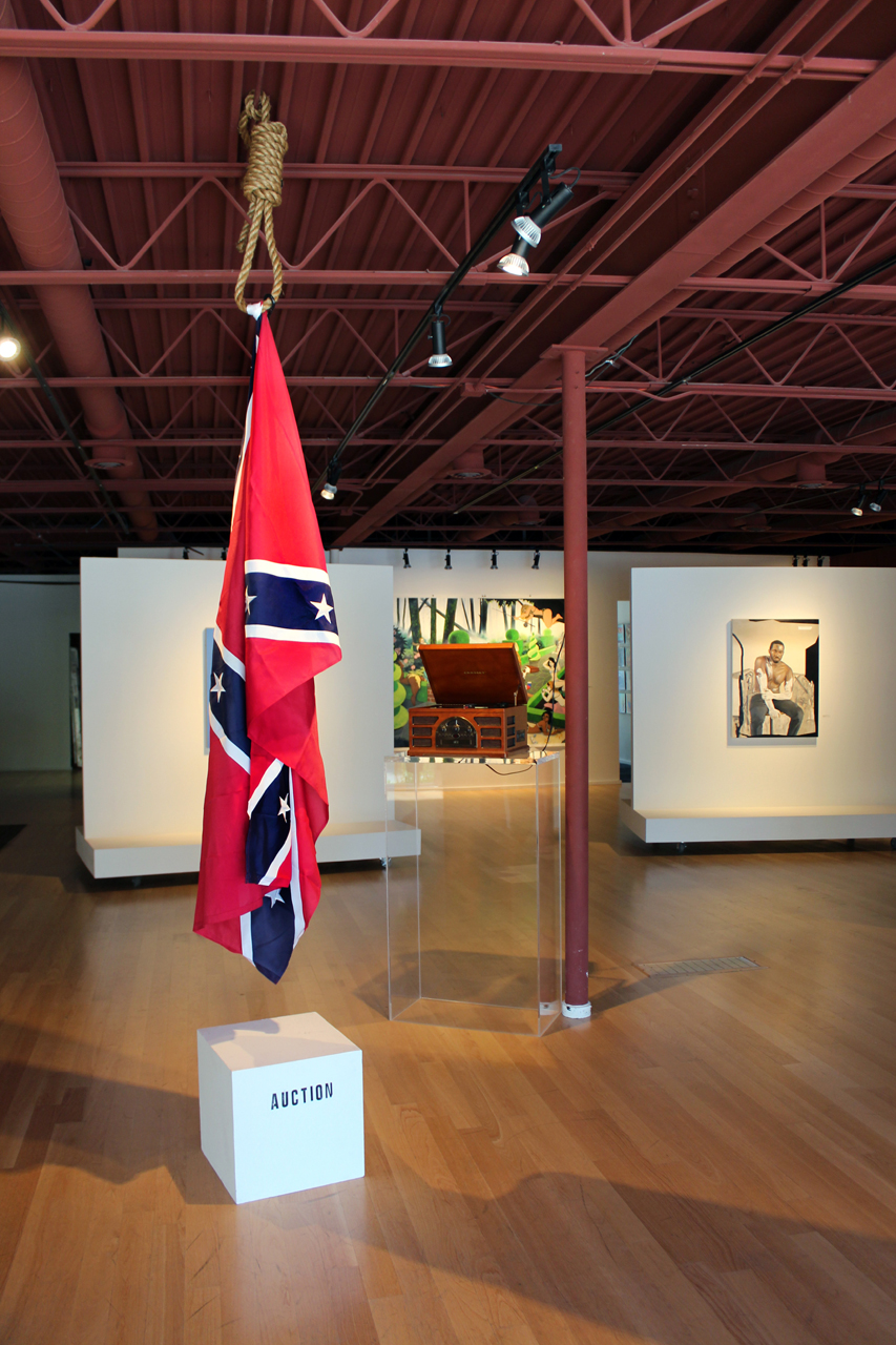 fig 2 John Sims, The Proper Way to Buy a Hanging Confederate Flag, 2015, installation photograph, courtesy of Moberg Gallery, July 2015
