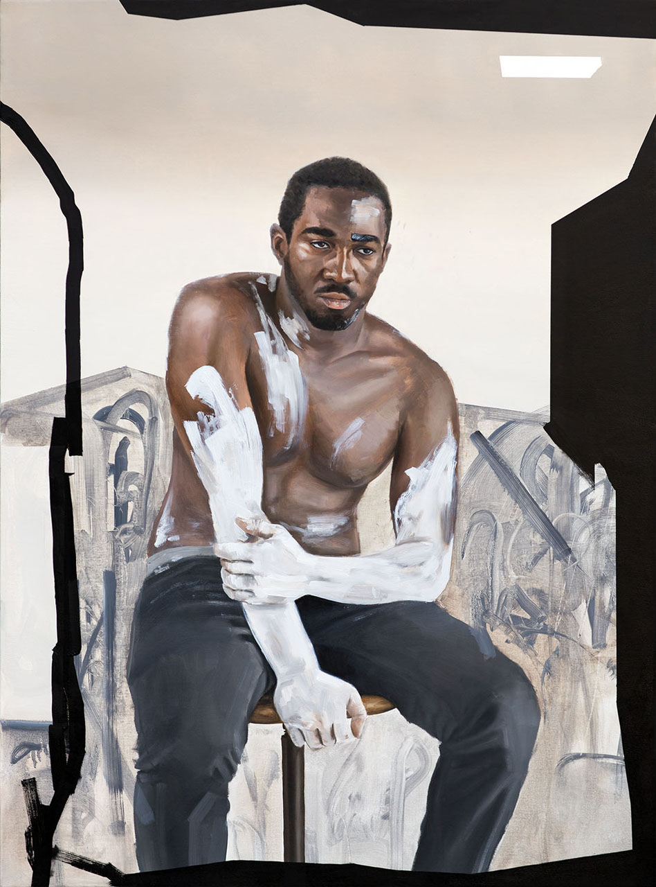 fig 3 Kohshin Finley, Camouflage for the Modern Man, 2015, oil and mixed media on canvas. Photograph courtesy of Koshin Finley