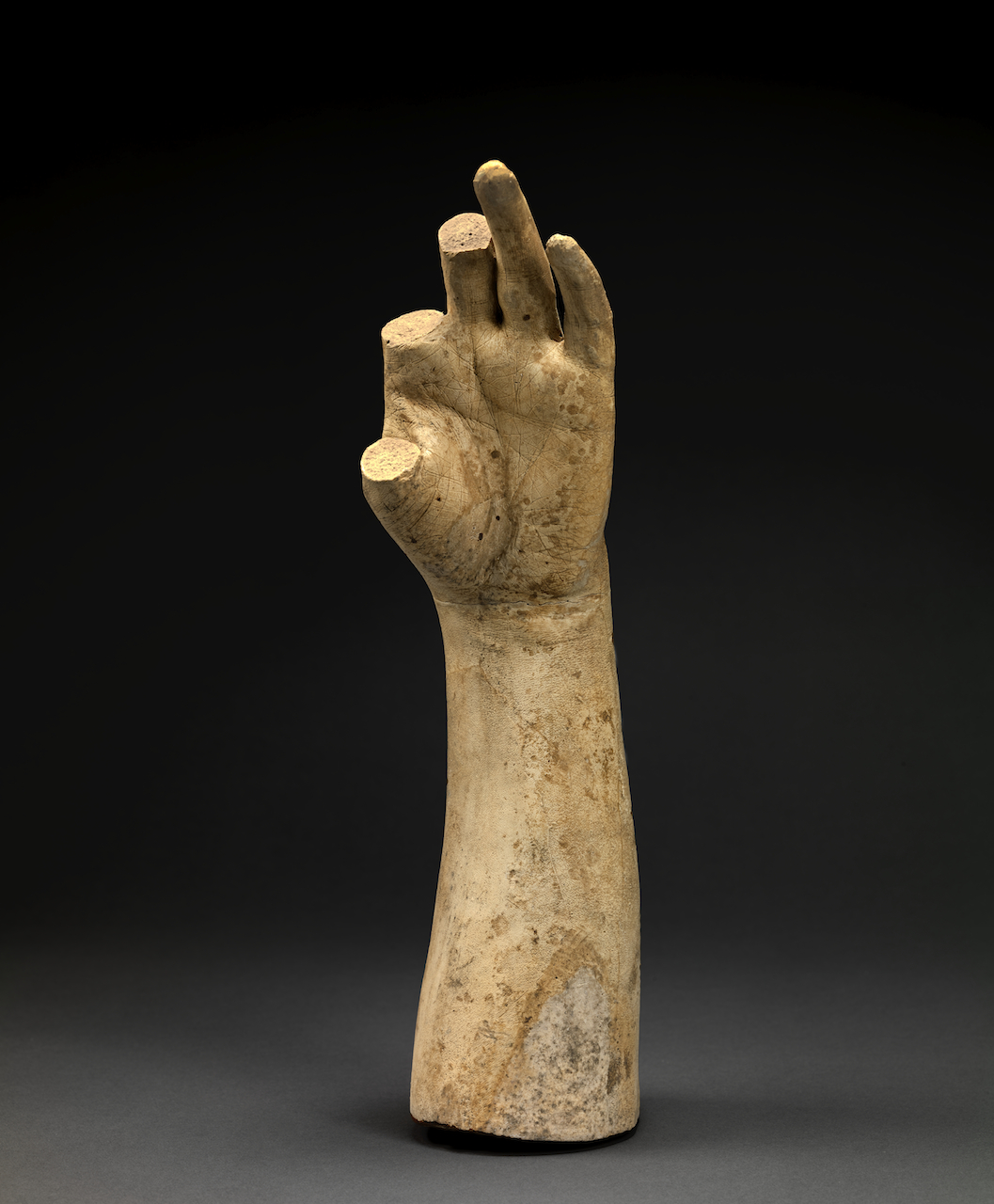 "Studio of Hiram Powers, Cast of the Forearm and Left Hand of ""Greek Slave"" (thumb and two missing fingers) (around 1843), plaster (courtesy Smithsonian American Art Museum)"