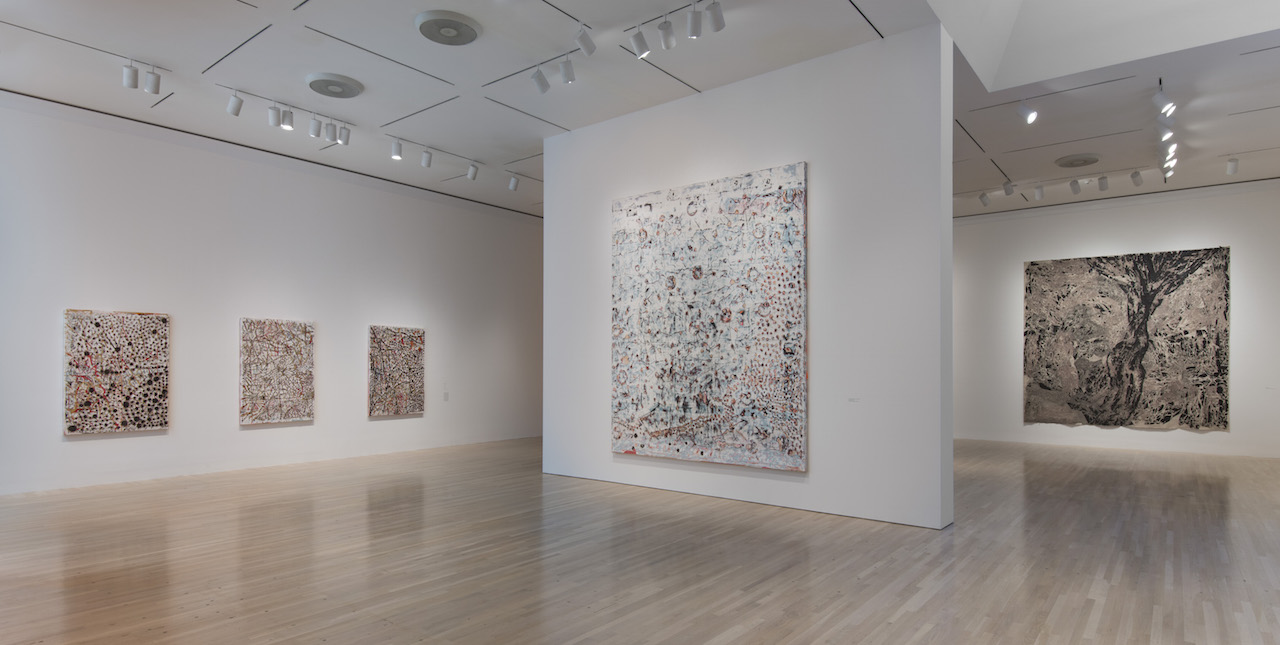 Installation view of 'Mark Bradford: Scorched Earth' (photo by Brian Forrest, courtesy the Hammer Museum)
