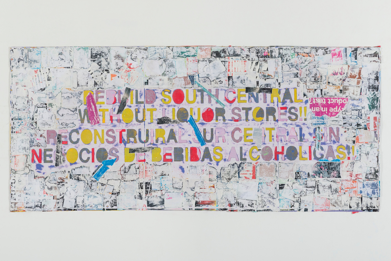 """Mark Bradford, """"Rebuild South Central"""" (2015), mixed media on canvas, 43 x 96 in. (courtesy of the artist and Hauser & Wirth; photo by Joshua White)"""
