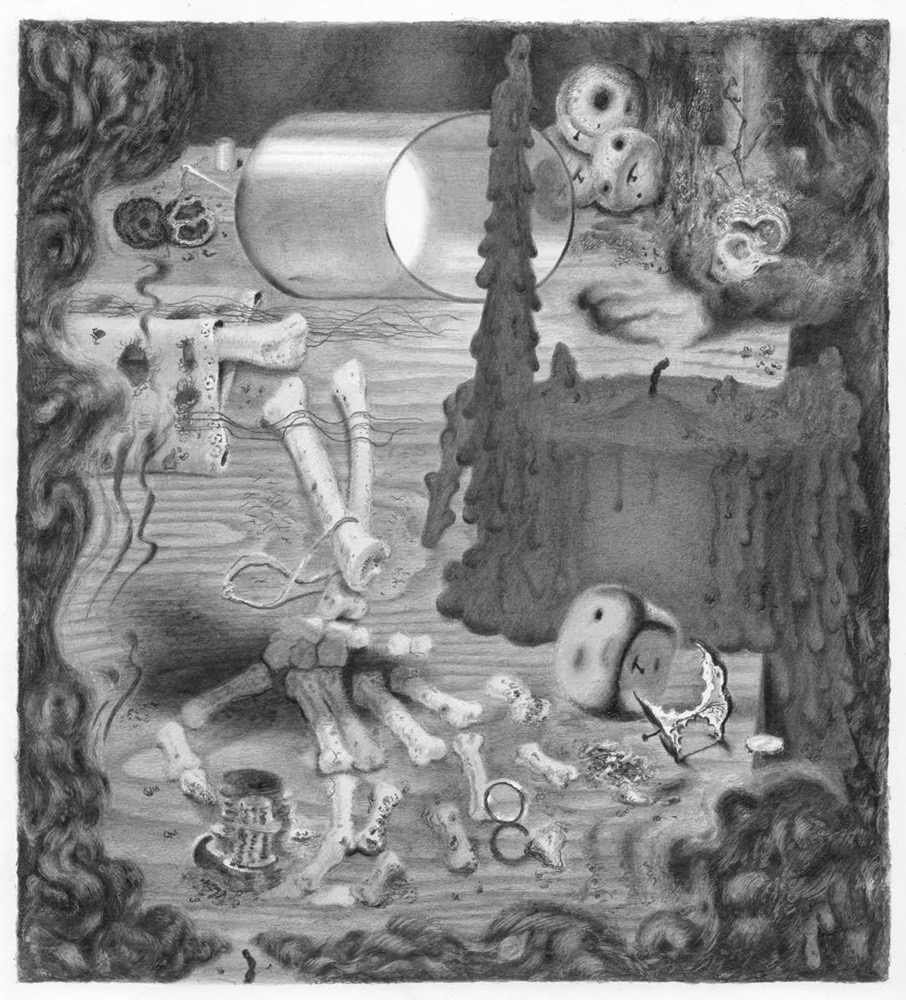 """Joshua Marsh, """"Thus Gone"""" (2015), graphite on paper, 9.5 x 8.625 inches (all images courtesy the artist and Jeff Bailey Gallery)"""