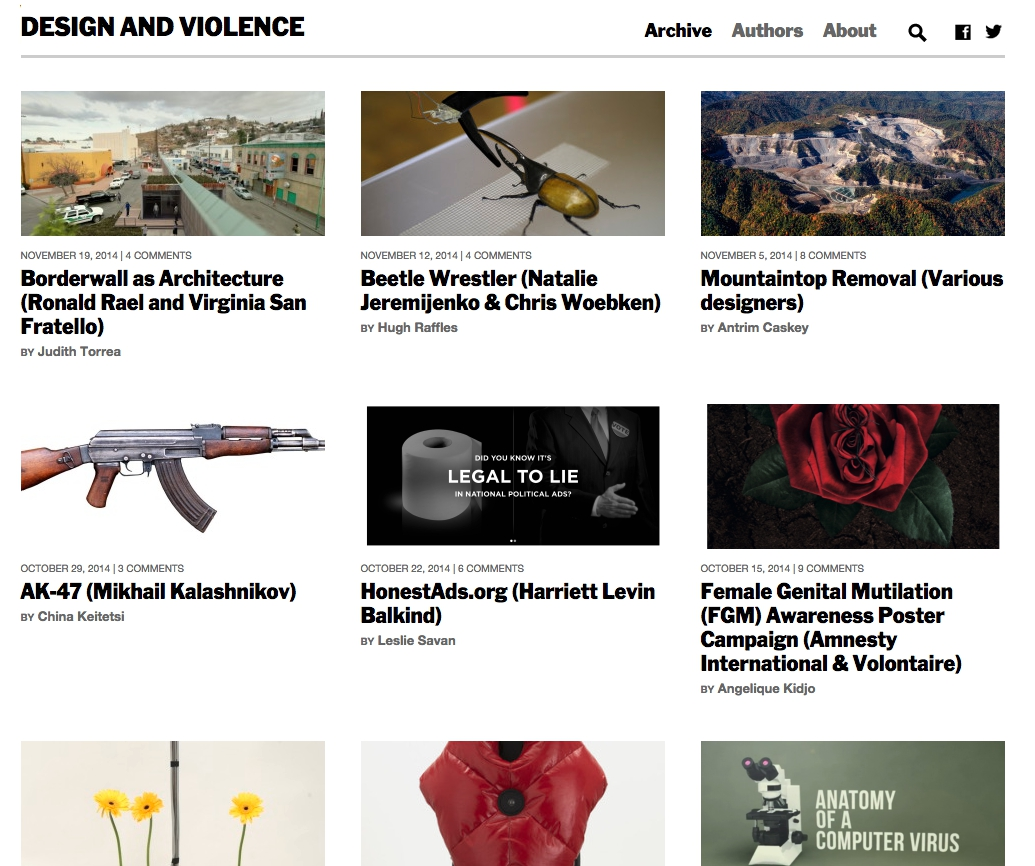 'Design and Violence' online exhibition (screenshot by the author for Hyperallergic)
