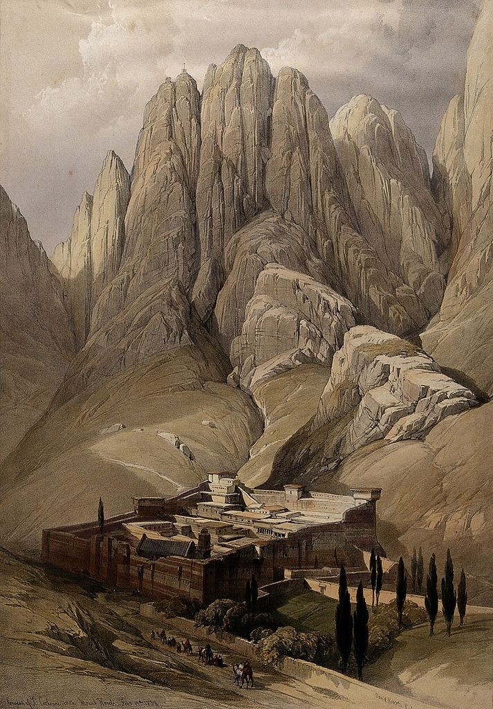 Monastery of St. Catherine beneath Mount Sinai, lithograph by Louis Haghe after David Roberts (1849) (via Wellcome Images)