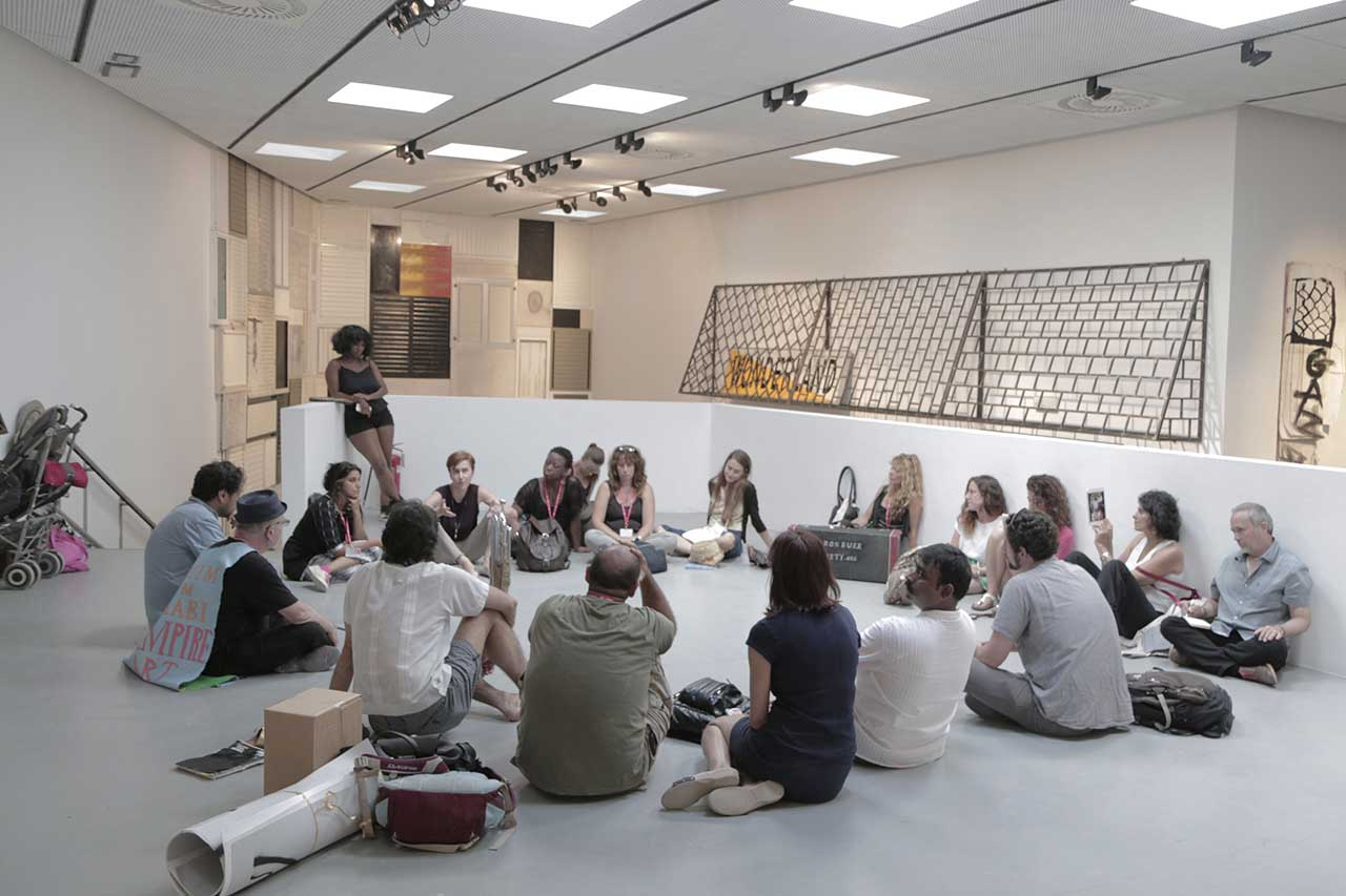 Members of G.U.L.F. occupying the second floor of the Israeli pavilion at the 2015 Venice Biennale (all photos courtesy G.U.L.F.)