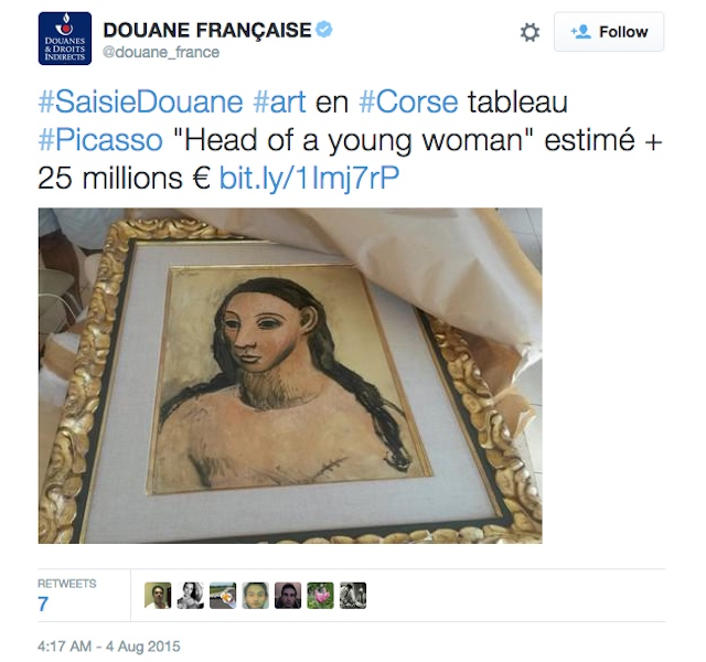 """A tweet by French Customs showing the Pablo Picasso painting seized from Jaime Botín's yacht, """"Head of a Young Woman."""" (screenshot by the author)"""