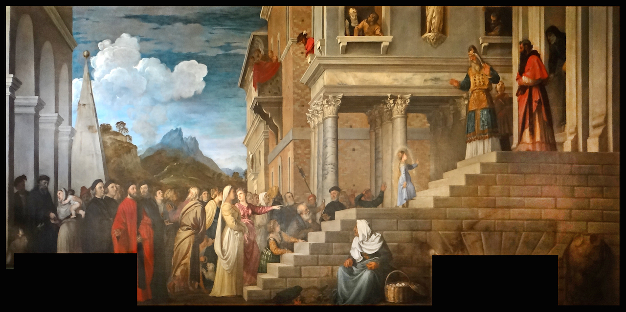 """Titian, """"The Presentation of the Virgin at the Temple"""" (c. 1534–39) at the Gallerie dell'Accademia in Venice (image via Wikimedia Commons)"""