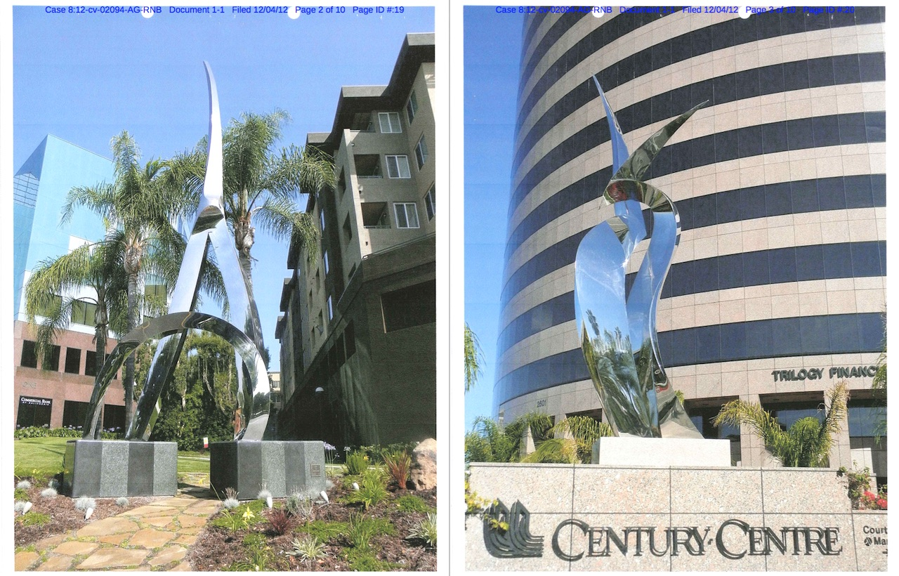 """Unauthorized copies of John Raimondi's """"Dian"""" (1987, left) and """"Ceres"""" (1994, right) at Olen Properties developments (images legal documents, screenshot by the author)"""
