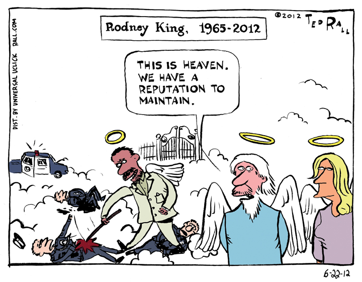 In this send-up of the hoary obituary cartoon form, I imagine LAPD beating victim Rodney King getting eternal payback for the suffering he endured at the hands of brutal police officers.