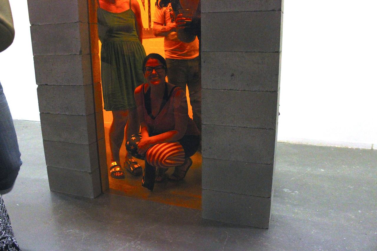 """Corrie Baldauf, seen through her """"Optimism Filter"""" installation"""