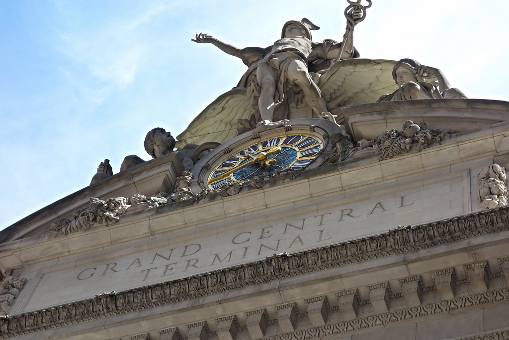 The Tiffany clock on Grand Central Terminal (photo by the author for Hyperallergic)