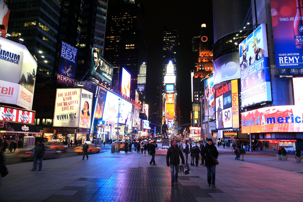 Times Square at night (photo by Vincent Desjardins, via Flickr)