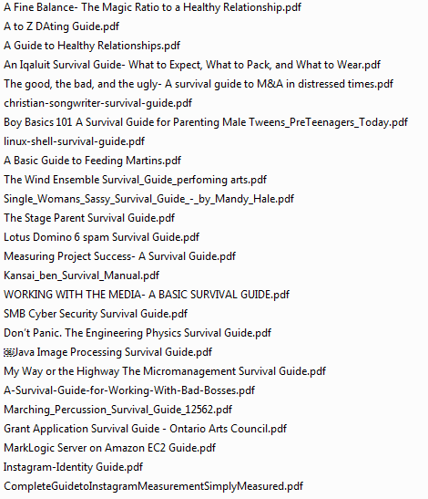 "A sample list of PDFs available to download from ""Keepalive"""
