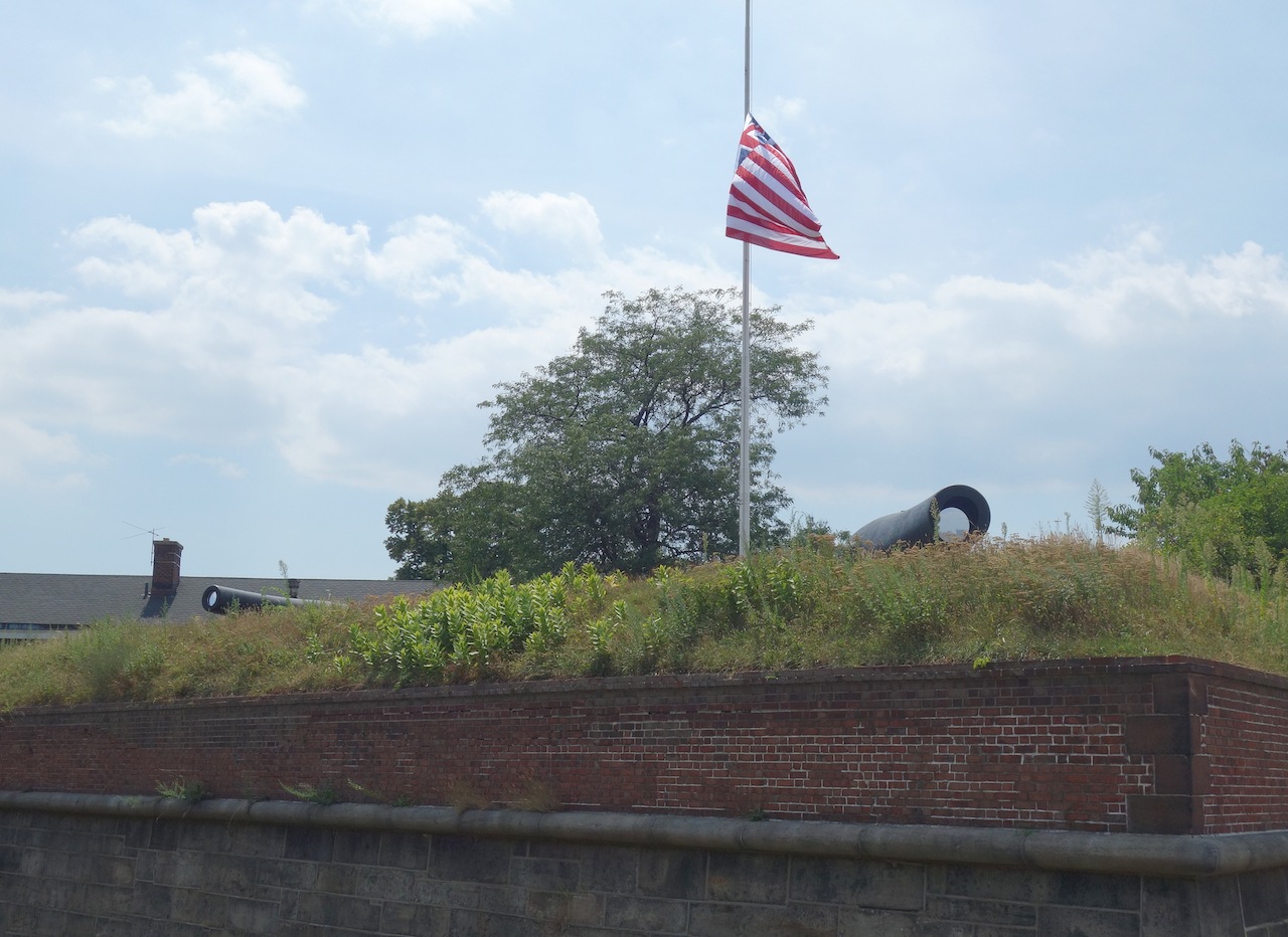 "Brad Farwell, ""Sky Cannon"" installed on the Civil War-era cannons at Fort Jay"