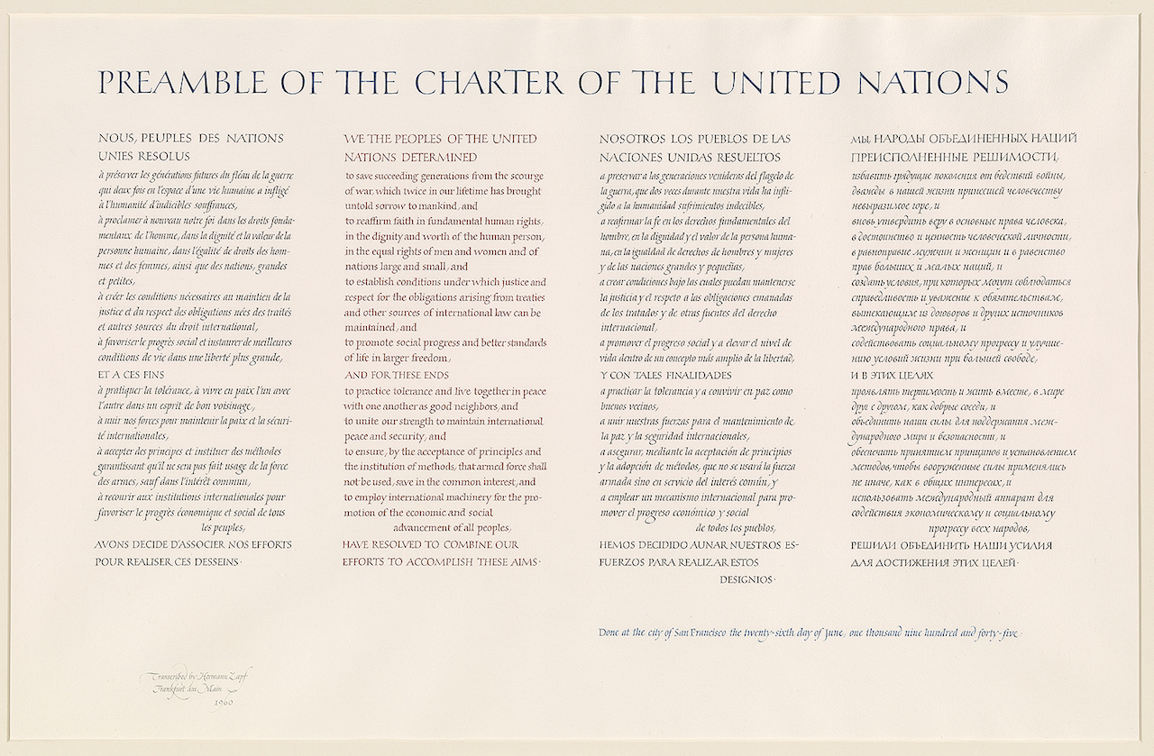 Hermann Zapf, Calligraphic manuscript of the Preamble of the Charter of the United Nations in French, English, Spanish, and Russian, Signed and dated Frankfurt am Main, 1960 (courtesy the Morgan Library & Museum) (click to enlarge)