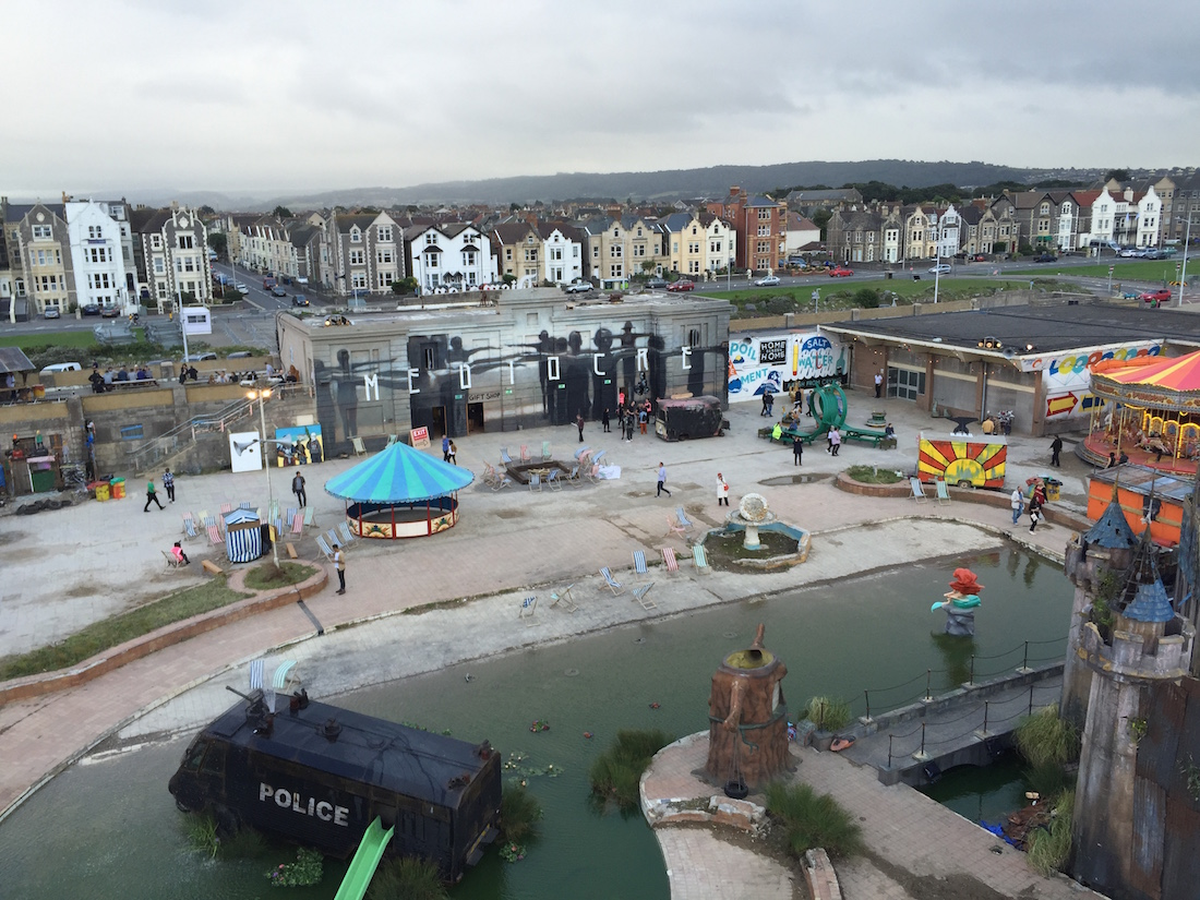 Dismaland as seen from the top of the Ferris Wheel (all photos by the author for Hyperallergic)
