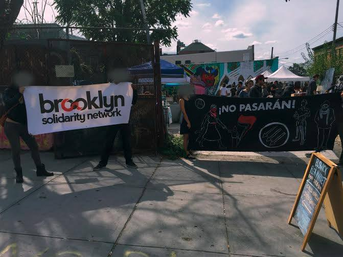 Protestors boycotting the Bushwick Flea on Saturday (photo courtesy Brooklyn Solidarity Network) (click to enlarge)