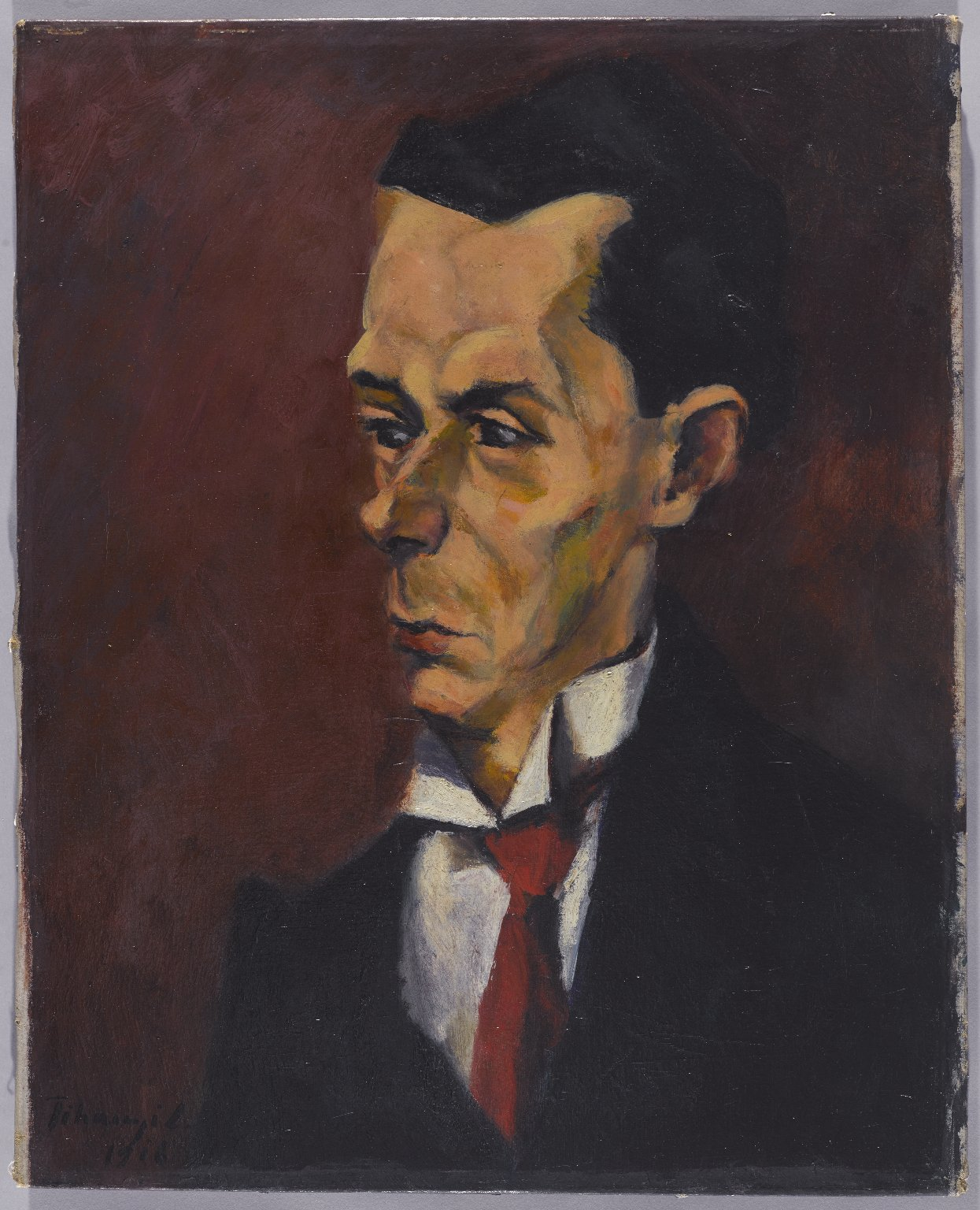 """Lajos Tihanyi, """"The Critic"""" (1916), oil on canvas, 20 1/8 x 16 3/8 in (51.1 x 41.6 cm), Brooklyn Museum, Gift of the Right Reverend John Torok, D.D. (image courtesy the Brooklyn Museum)"""