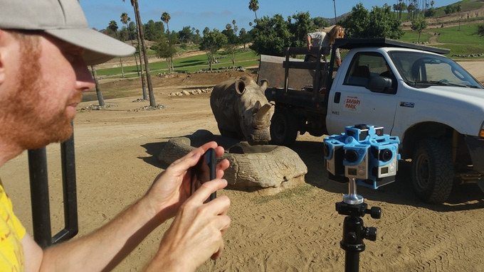 The 360 degree camera at the San Diego Zoo, with Director of Photography Todd Somodevilla at left