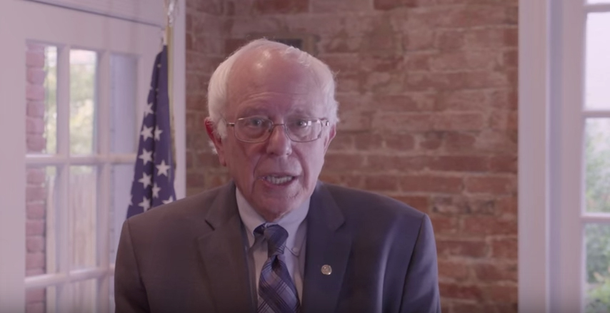 Bernie Sanders speaking about his support of the arts (screenshot via YouTube)