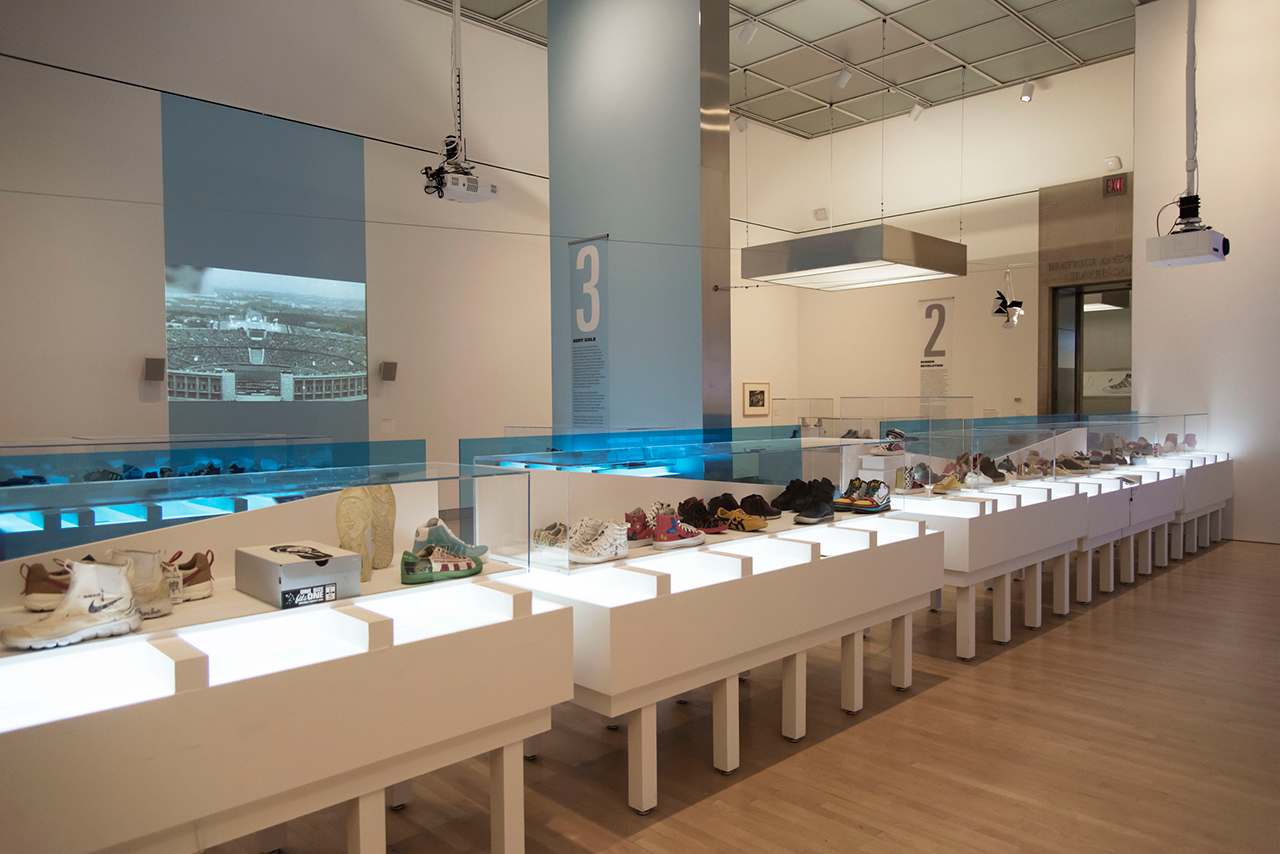 Installation view, 'The Rise of Sneaker Culture' at the Brooklyn Museum (© Jonathan Dorado)