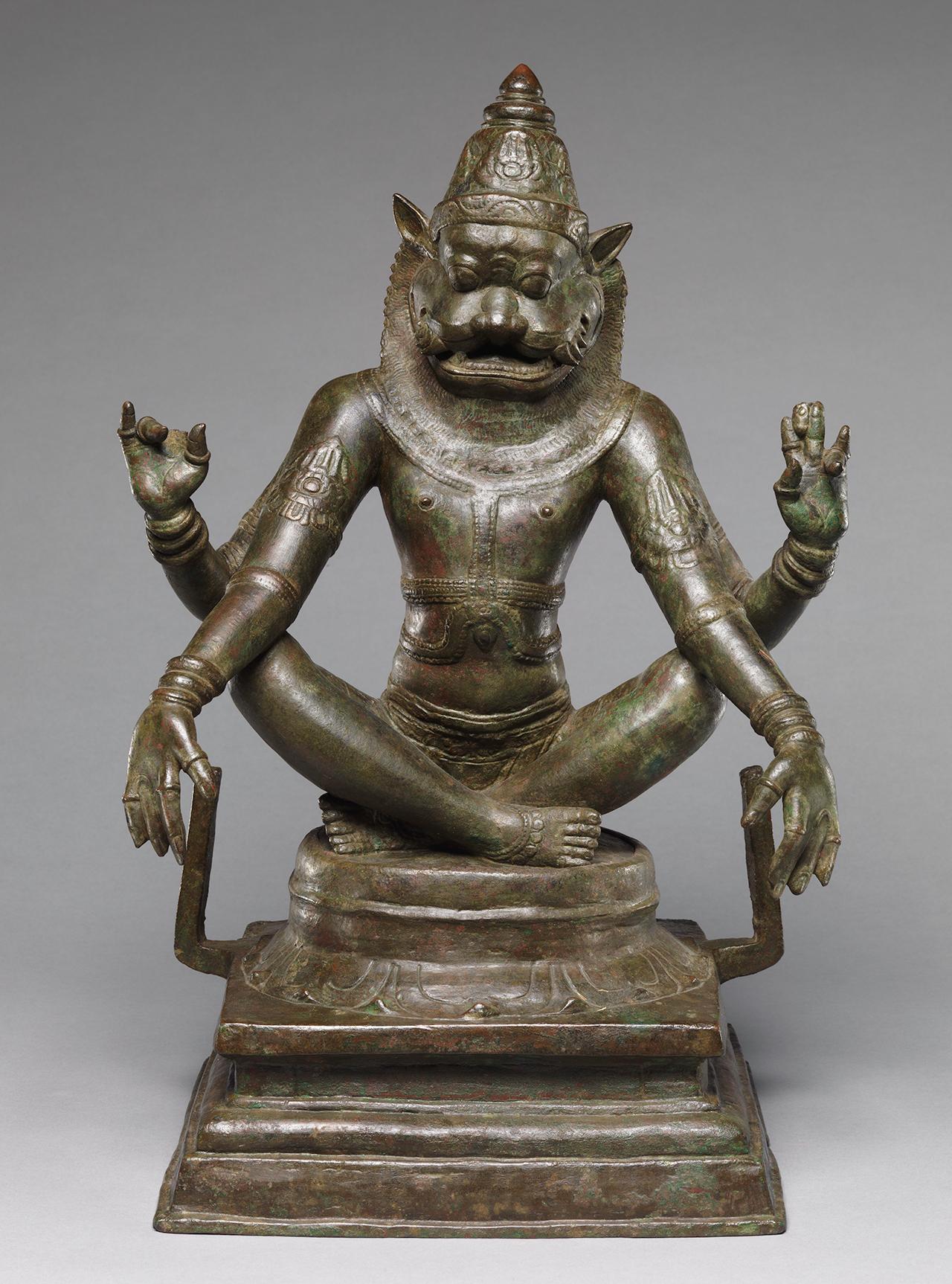 Yoga Narasimha, Vishnu's Man-Lion Incarnation (12th century), India (Tamil Nadu), Chola period (880–1279), copper alloy, h: 18 3/4 in (47.6 cm); w: 13 in (33 cm); d: 9 1/2 in (24.1 cm), The Metropolitan Museum of Art, New York, Samuel Eilenberg Collection, Bequest of Samuel Eilenberg, 1998 (photo courtesy The Metropolitan Museum of Art)