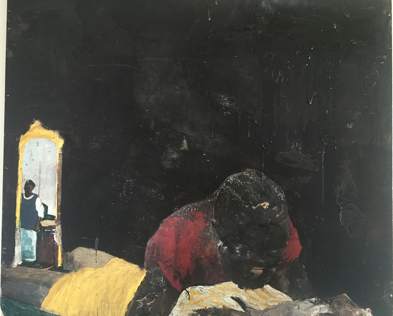 One of Noah Davis's last paintings (photo by Henry Taylor)