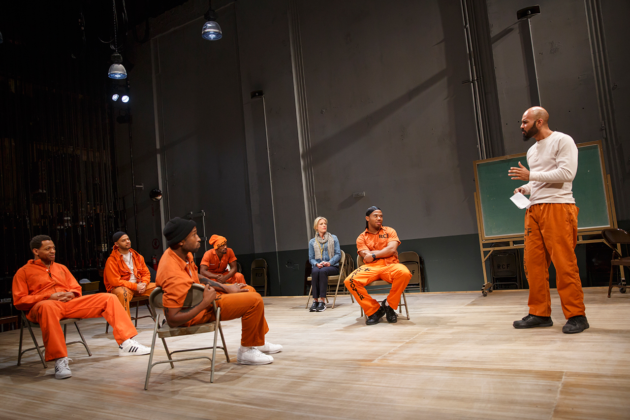 Derrick Baskin and cast performing in 'Whorl Inside a Loop' (click to enlarge)