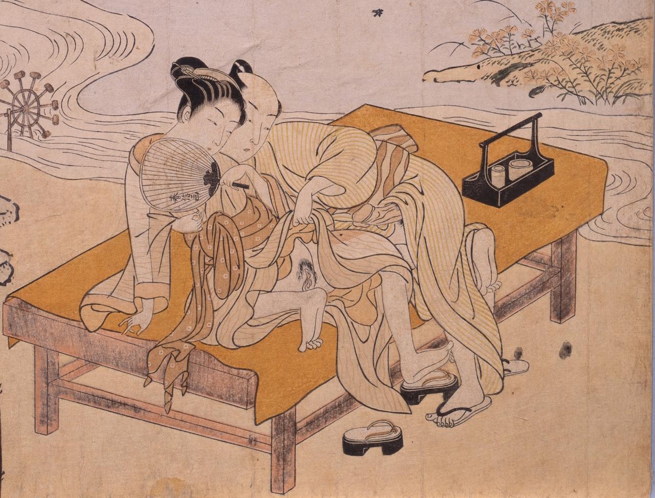 """Suzuki Harunobu, """"Enjoying the Evening Cool (Yu suzumi)"""""""