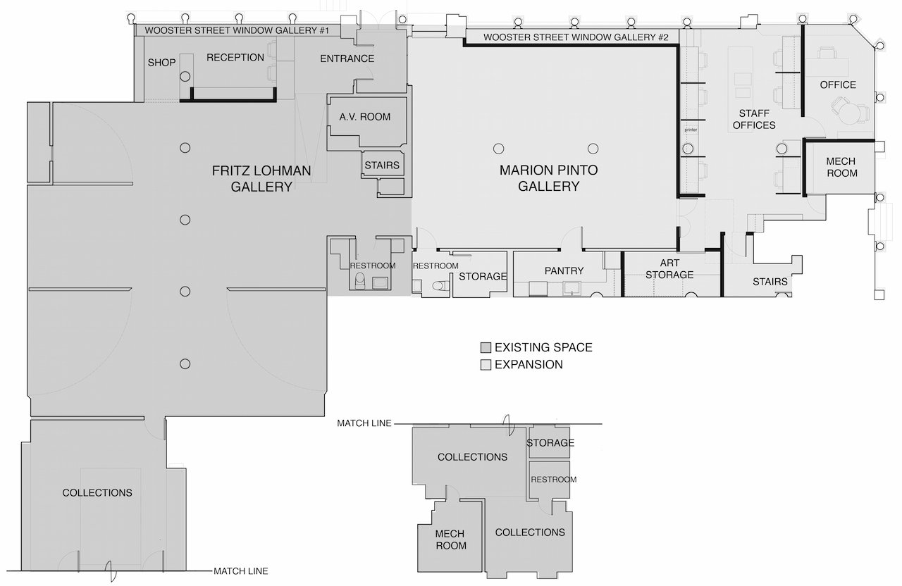 Floor plan showing the existing gallery space and the expansion (all images courtesy Leslie-Lohman Museum of Gay and Lesbian Art)