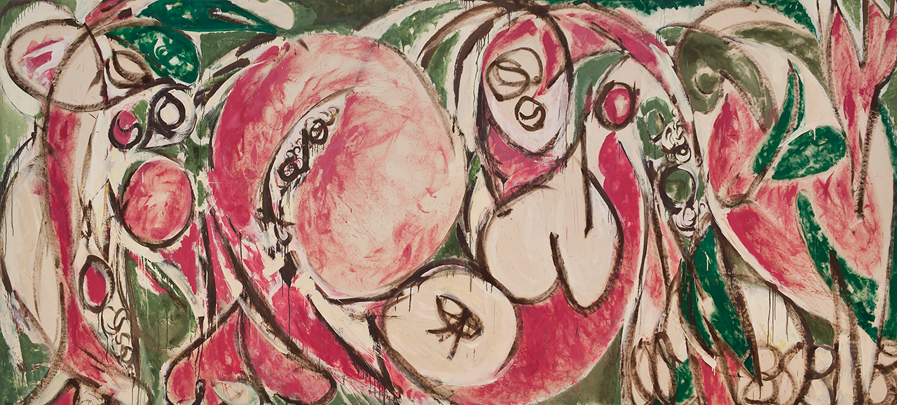 """Lee Krasner, """"The Seasons"""" (1957), oil and house paint on canvas, 92 3/4 × 203 7/8 in, Whitney Museum of American Art, New York; purchase, with funds from Frances and Sydney Lewis by exchange, the Mrs. Percy Uris Purchase Fund and the Painting and Sculpture Committee 87.7. (photo by Sheldan C. Collins, © 2015 Pollock-Krasner Foundation / Artists Rights Society [ARS], New York)"""