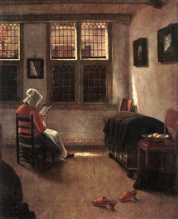 "Pieter Janssens Elinga, ""Reading Woman"" (1650) (photo via Wikipedia) (click to enlarge)"