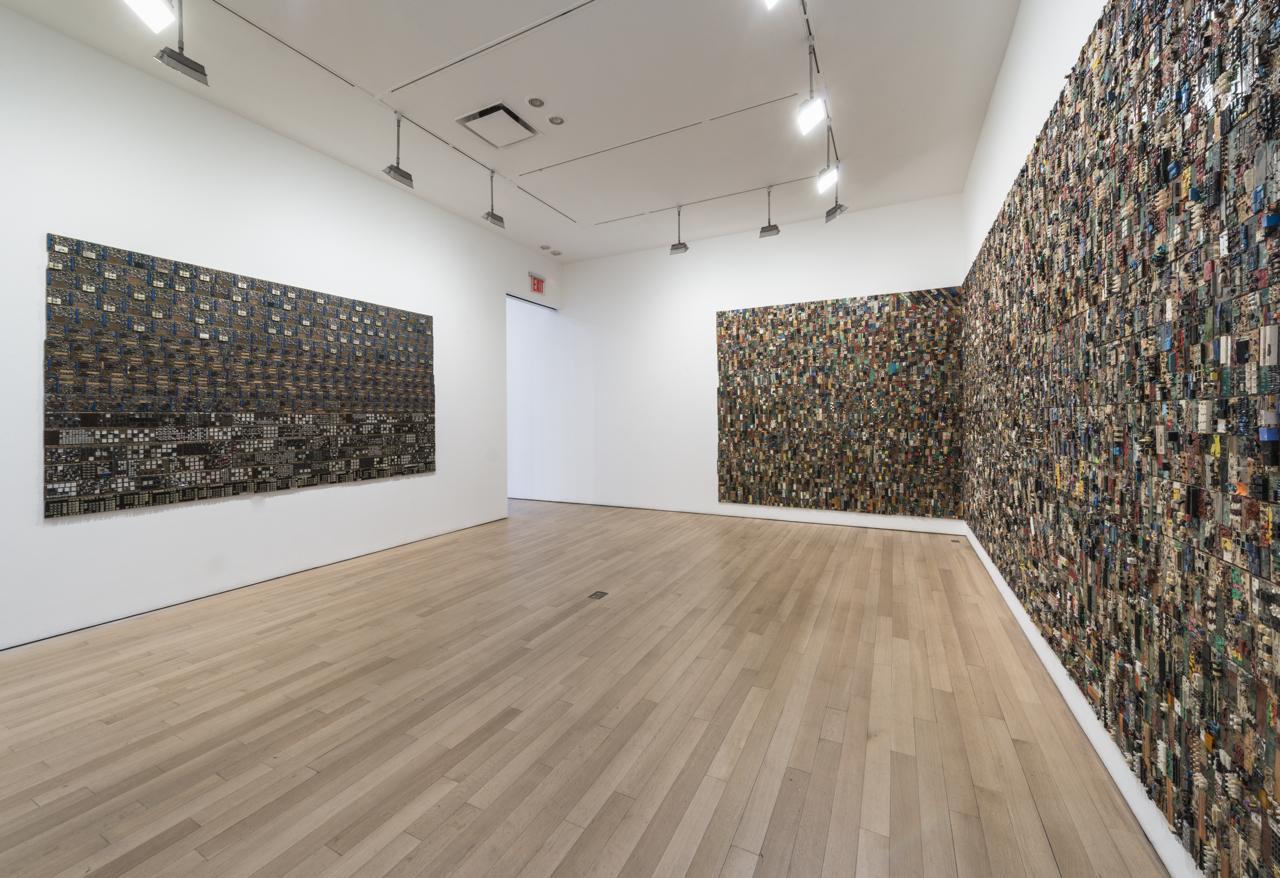 "Elias Sime installation view, on right, ""Tightrope 7"" (2009-2014)."
