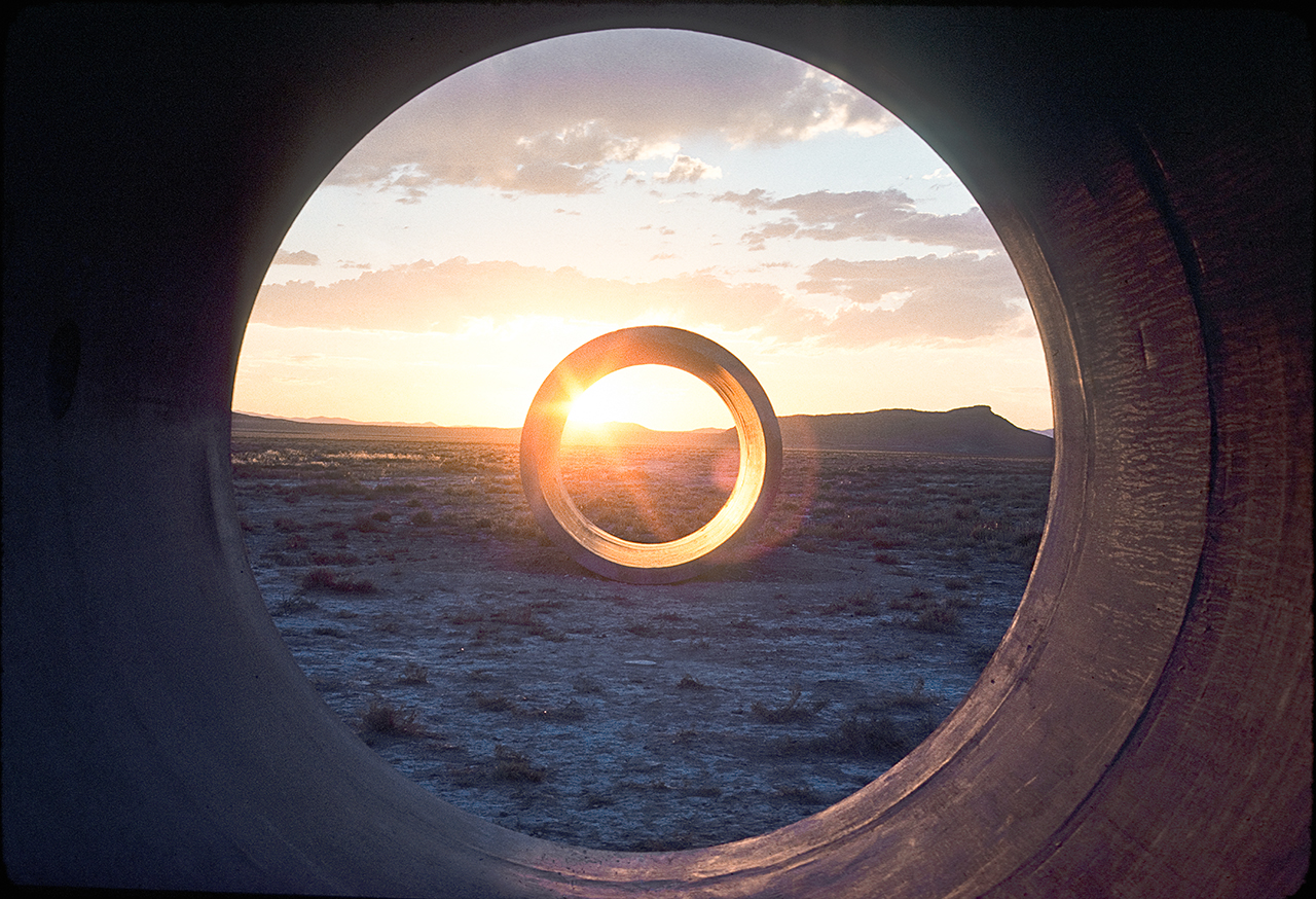 """Nancy Holt, sunlight in """"Sun Tunnels"""" (1976), from 'Troublemakers' (photo by Nancy Holt, © Holt-Smithson Foundation / licensed by VAGA, New York)"""